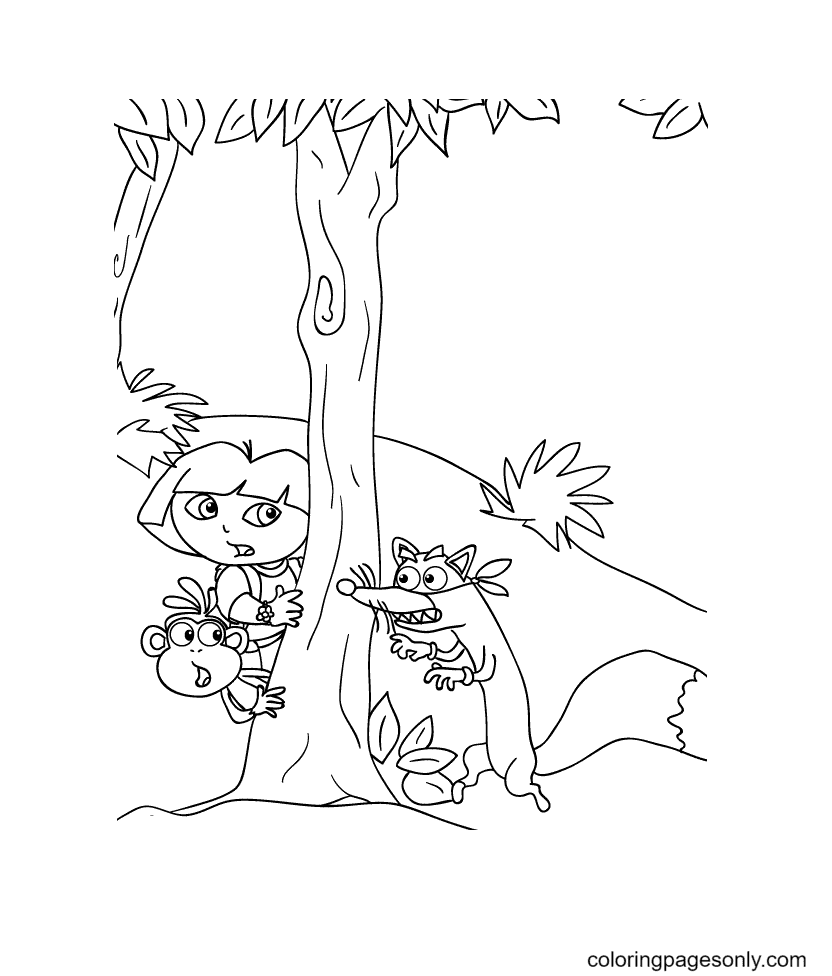 Dora, Boots And Swiper The Fox Coloring Page