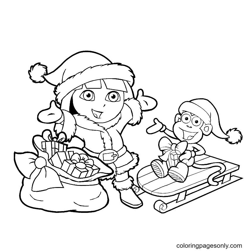Dora Christmas Coloring Page