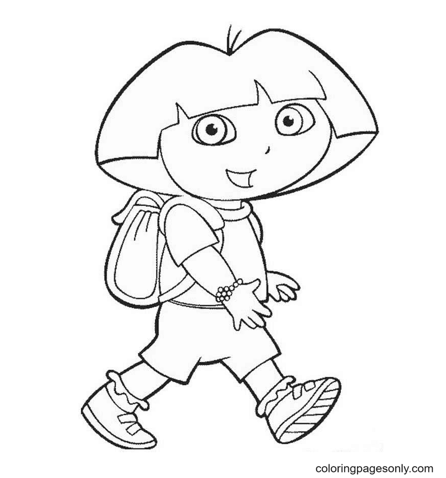 Dora Is Walking Coloring Page