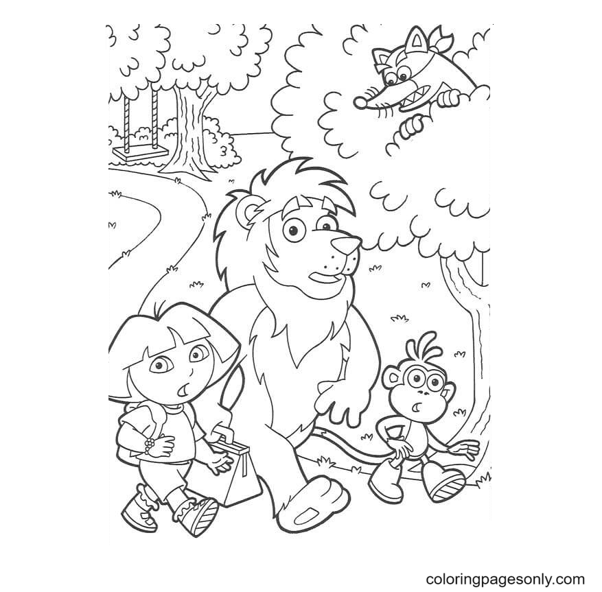 Dora Marquez, Monkey Boots, Lion and Swiper Coloring Page