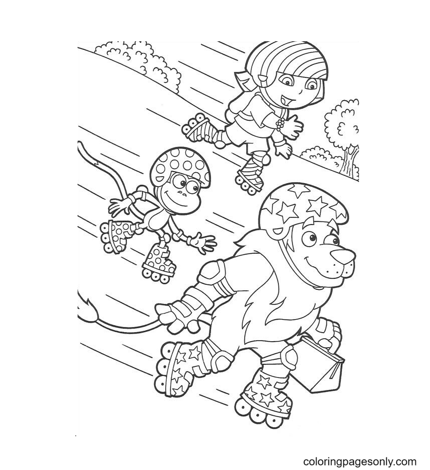 Dora, Monkey Boots, Lion rollerblading Coloring Page