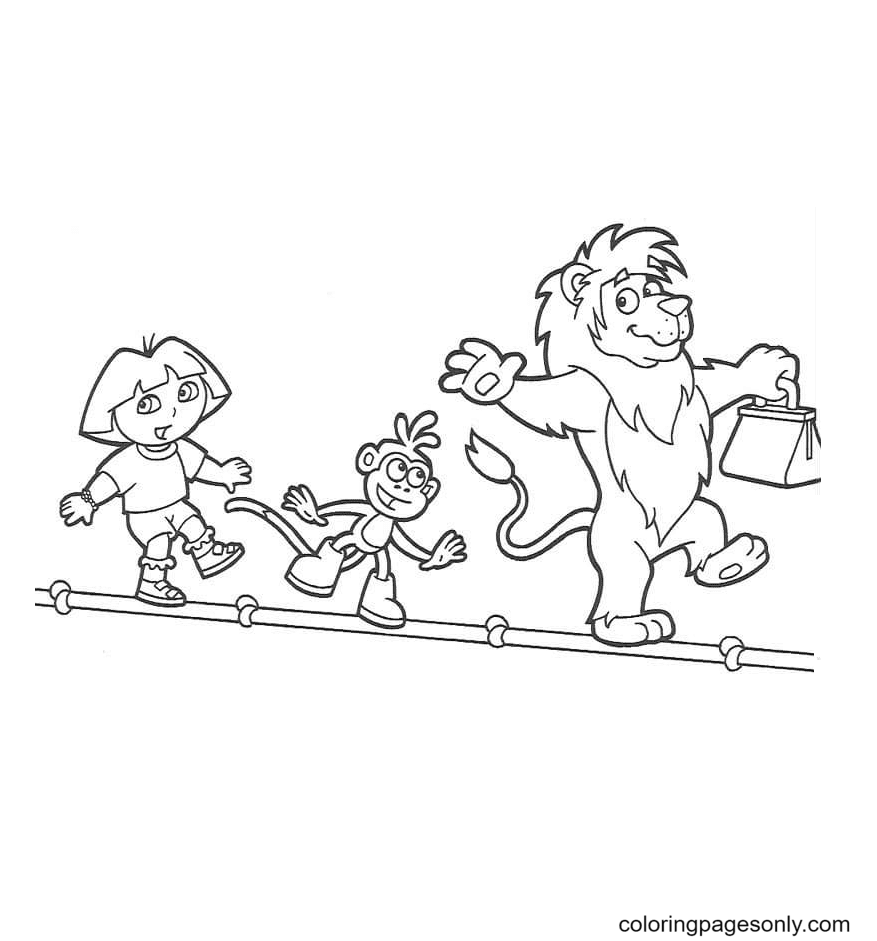 Dora, Monkey Boots, Lion walking on a rope Coloring Page