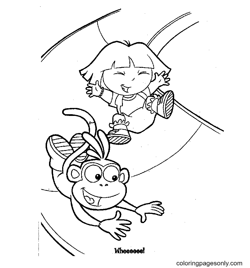 Dora, Monkey Boots plays the slide game Coloring Page
