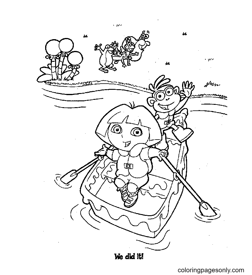 Dora, Monkey Boots rowing Coloring Page