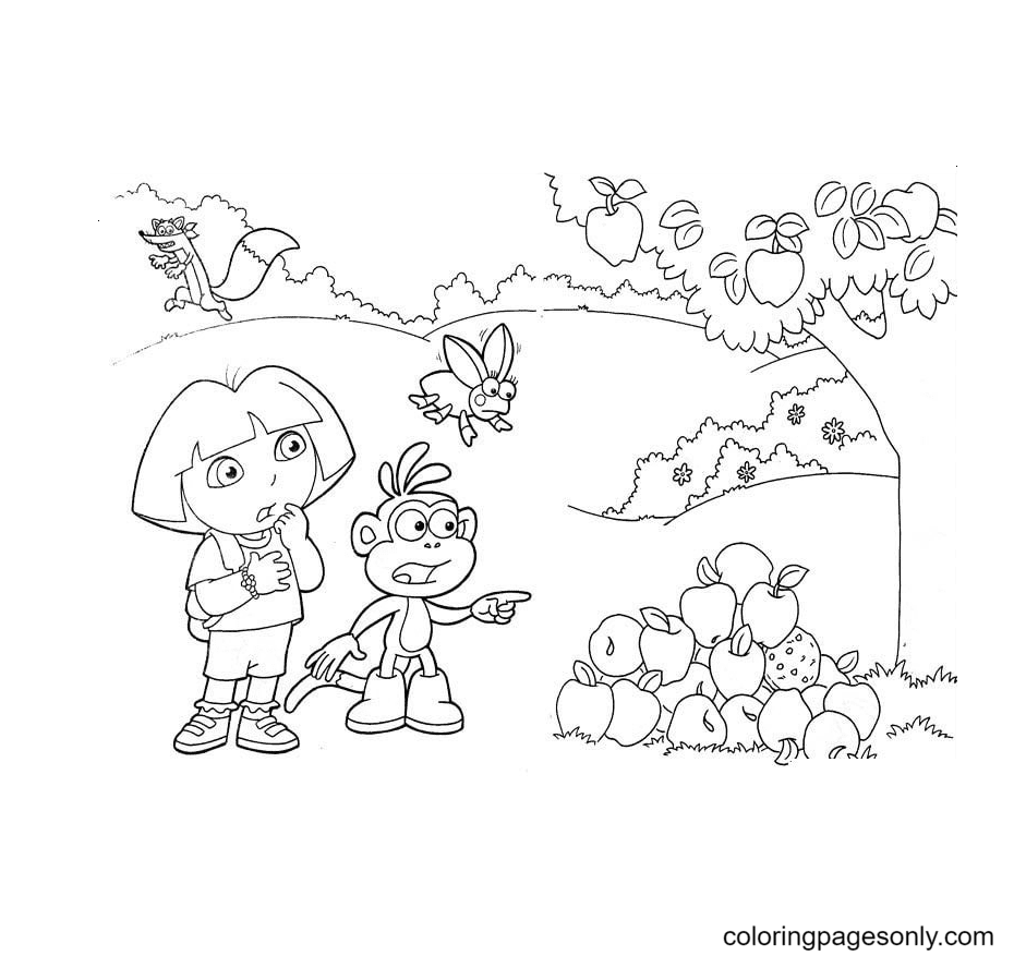 Dora, Monkey Boots saw the apple tree Coloring Page