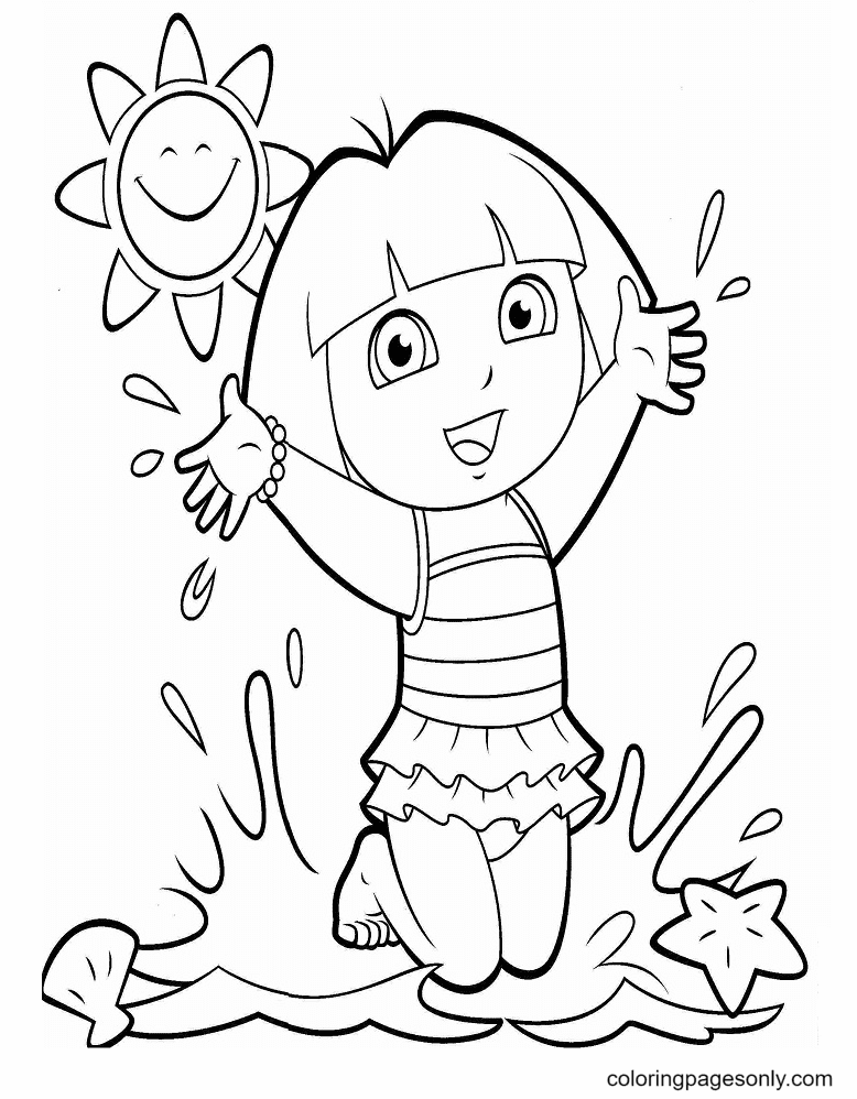 Dora On The Beach Coloring Page
