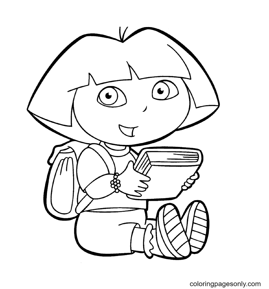 Dora The Explorer And A Book Coloring Page