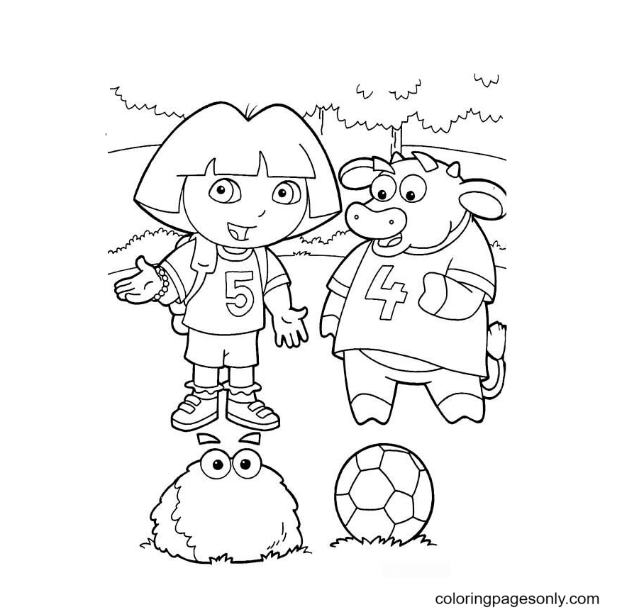 Dora and Benny Coloring Page