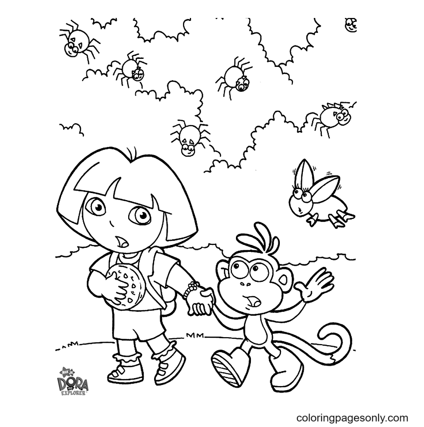 Dora and Boots encounter insects Coloring Page