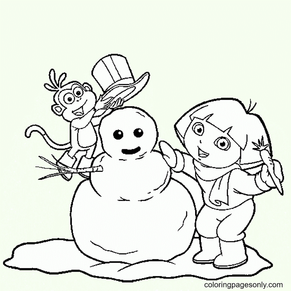 Dora and Boots make snowman winter Coloring Page