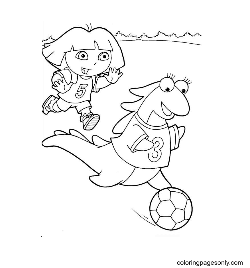 Dora and Isa playing soccer Coloring Page
