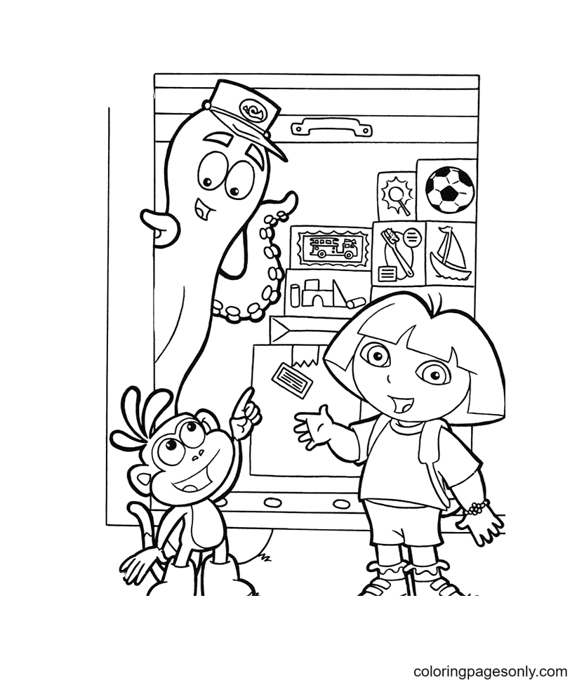 Dora and Monkey Boots Printable Coloring Page