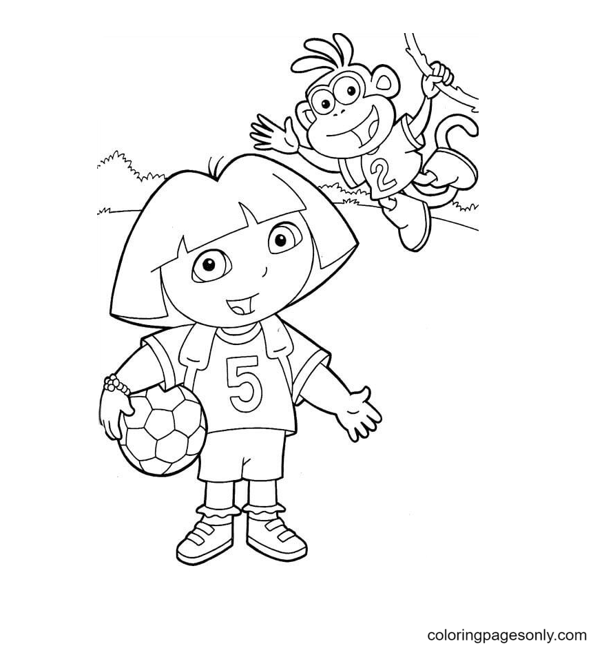 Dora and Monkey Boots play soccer Coloring Page