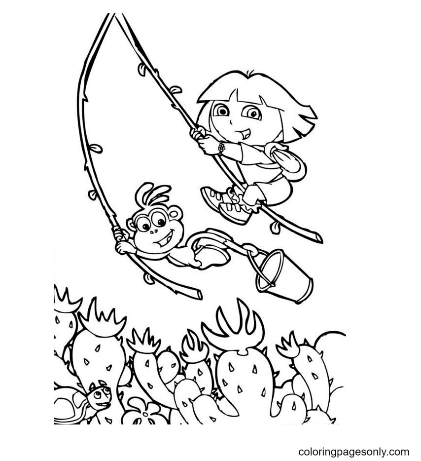 Dora and Monkey Boots swinging rope Coloring Page