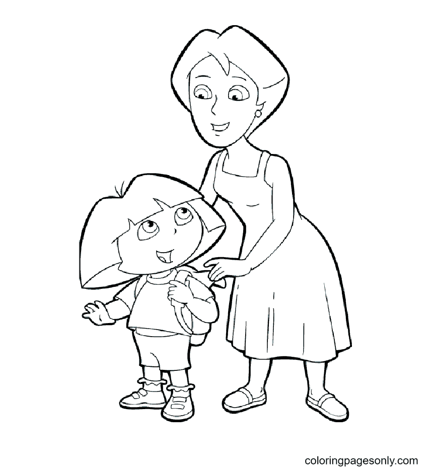 Dora and Mother Coloring Page