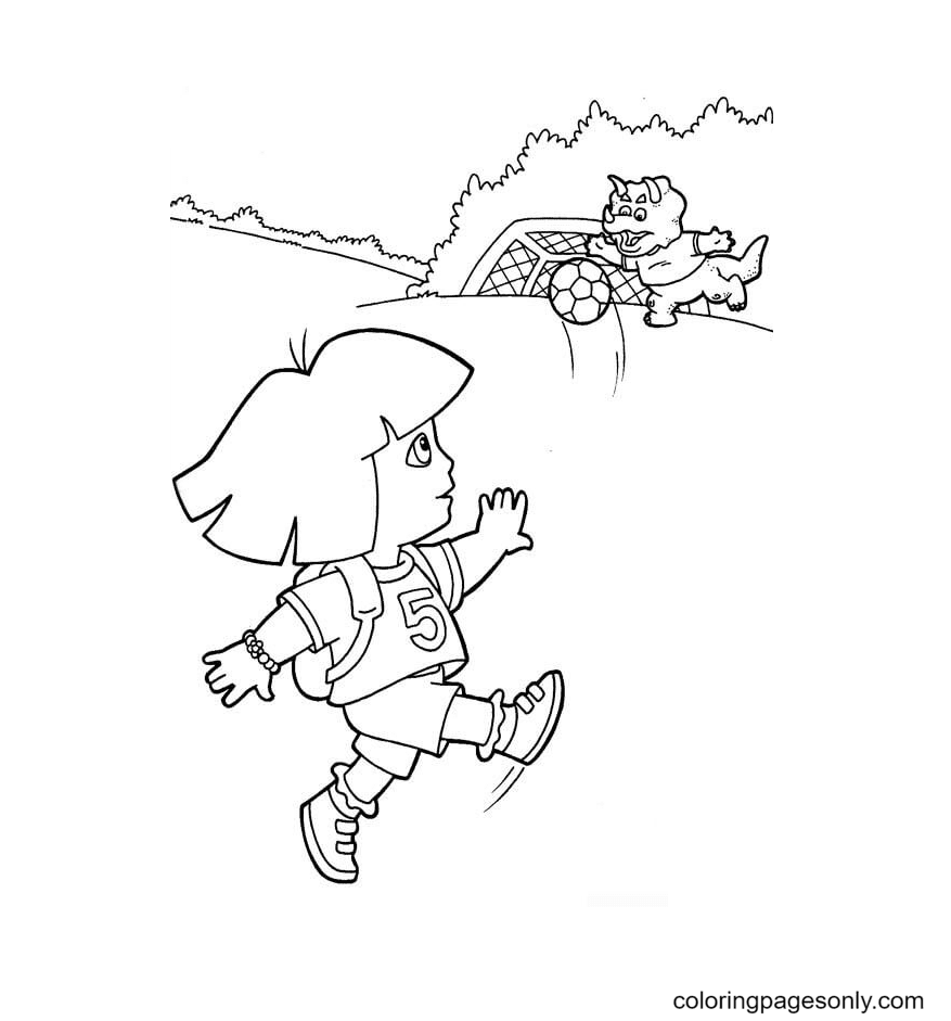 Dora is a soccer player Coloring Page