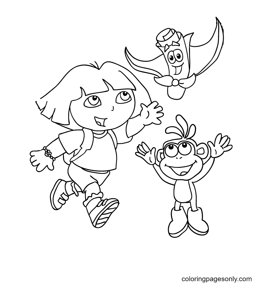 Dora runs after the map Coloring Page