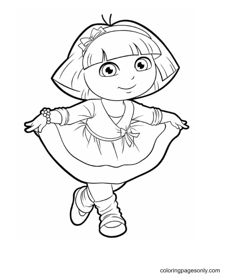 Dora with a beautiful dress Coloring Page