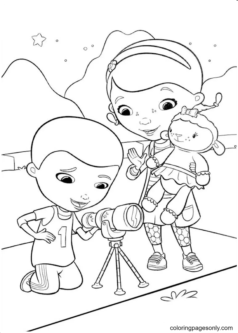 Dottie McStuffins and Donny with Lambie Coloring Page