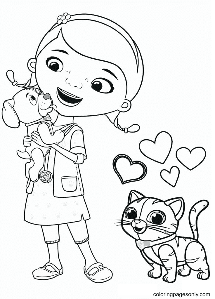 Dottie with Dog and Cat Coloring Page