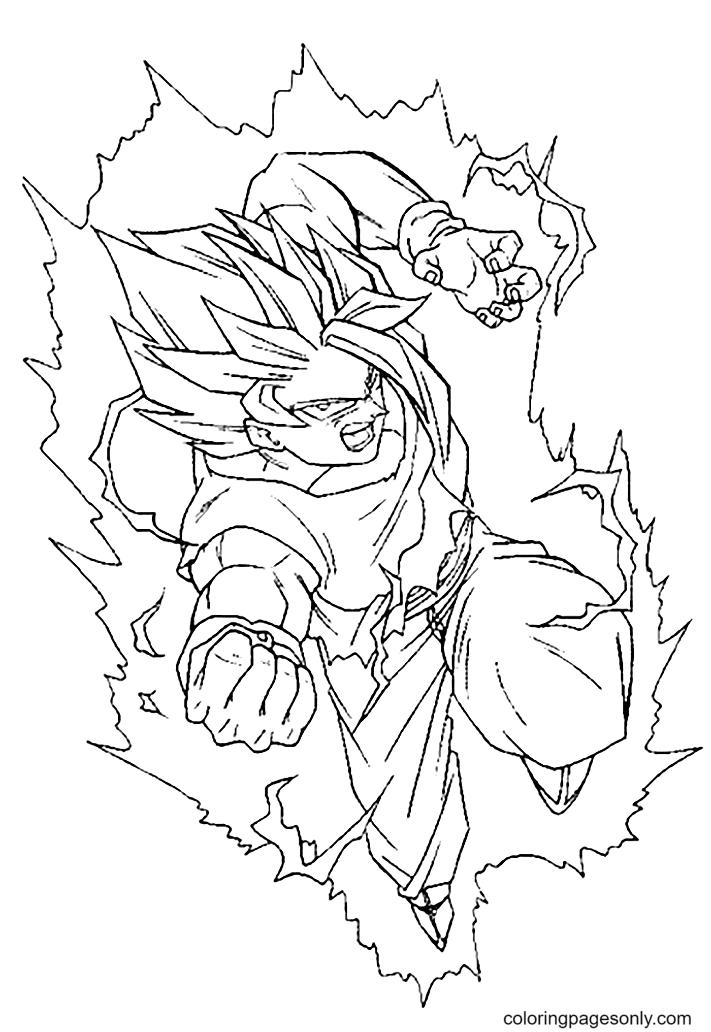 Dragon Ball Son Goku Super Saiyan Coloring Page