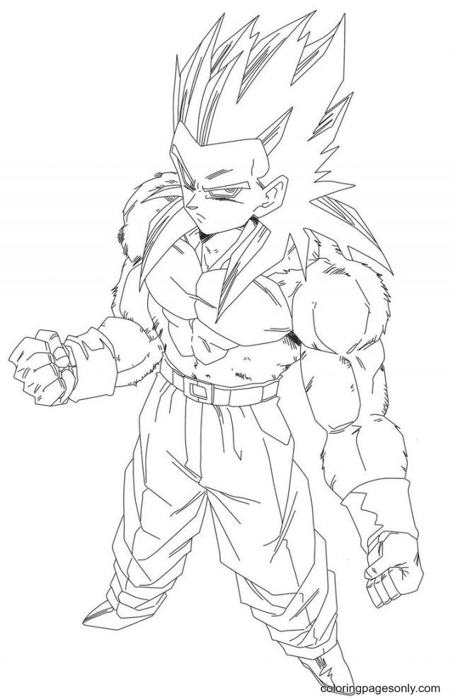 Dragon Ball Z Goku Super Saiyan Coloring Page