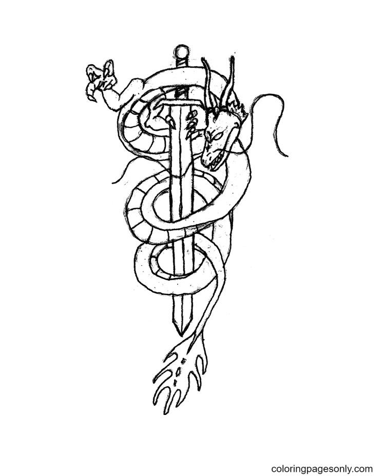 Dragon Sword Coloring Page