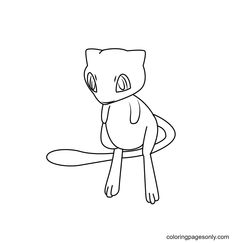 Draw Mew from Pokemon Coloring Page