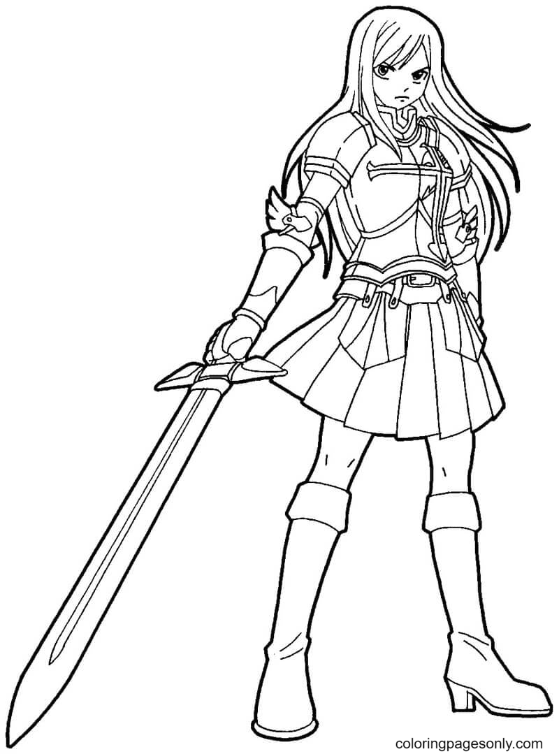 Erza Scarlet with Sword Coloring Page