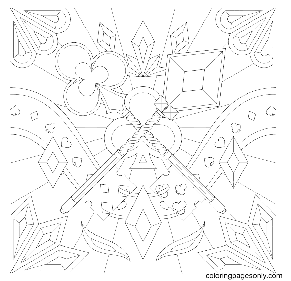 Fantasy Clover And Diamond Key Coloring Page