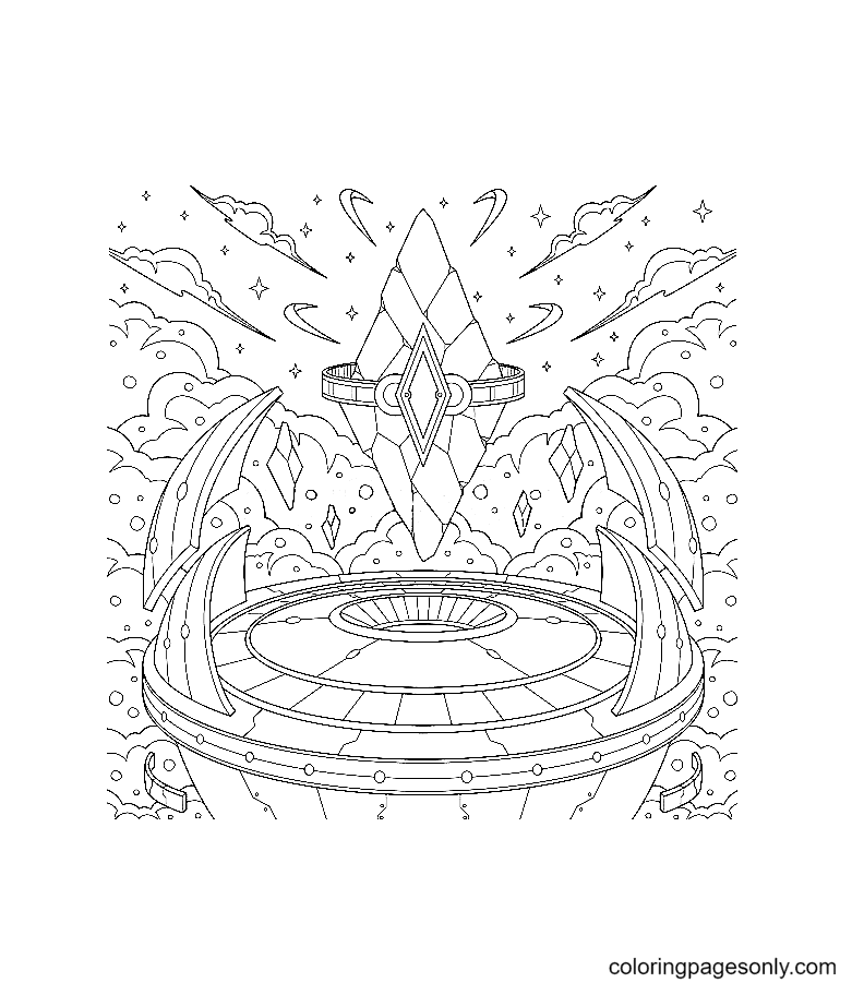 Fantasy floating Sky Crystal Coloring Page