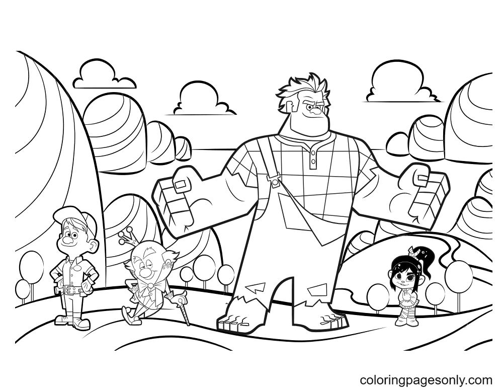 Felix, King Candy, Ralph and Vanellope Coloring Page