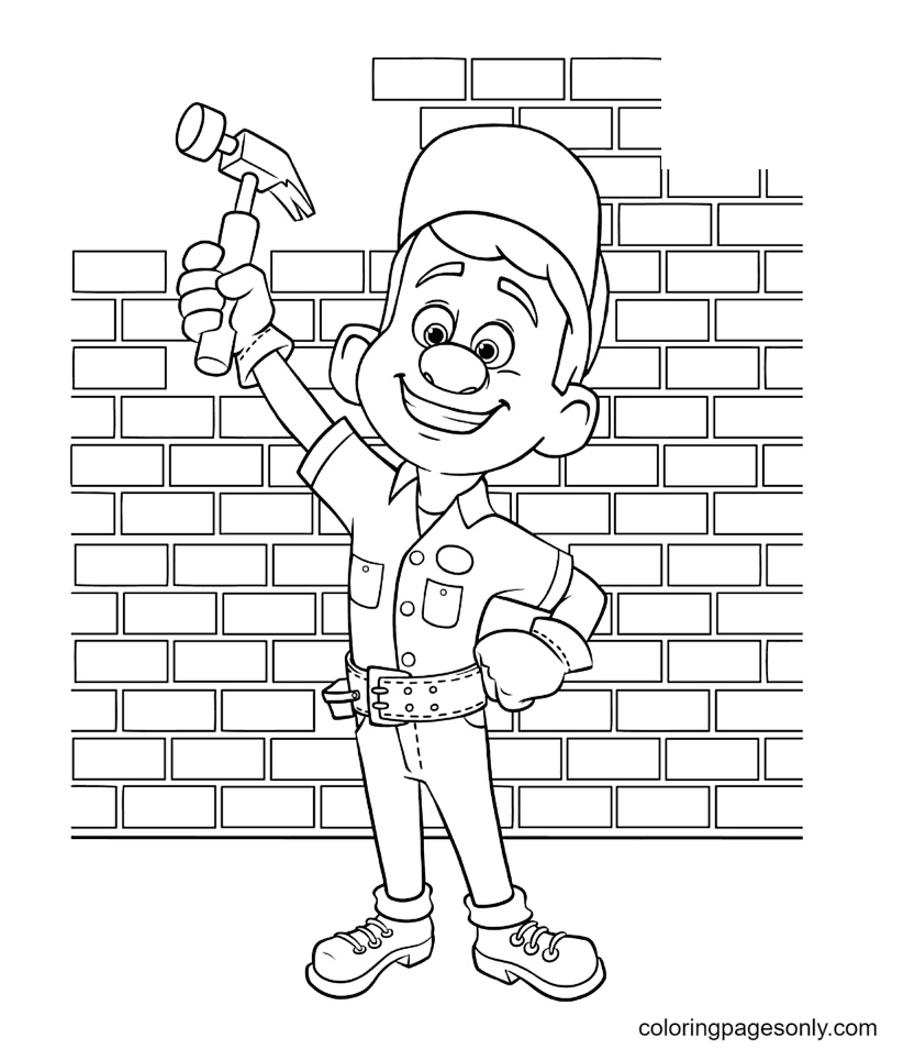 Felix holds a hammer and raises his hand Coloring Page