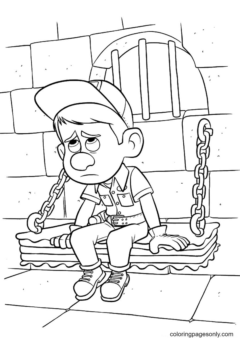 Fix It Felix Jr in the Jail Coloring Page