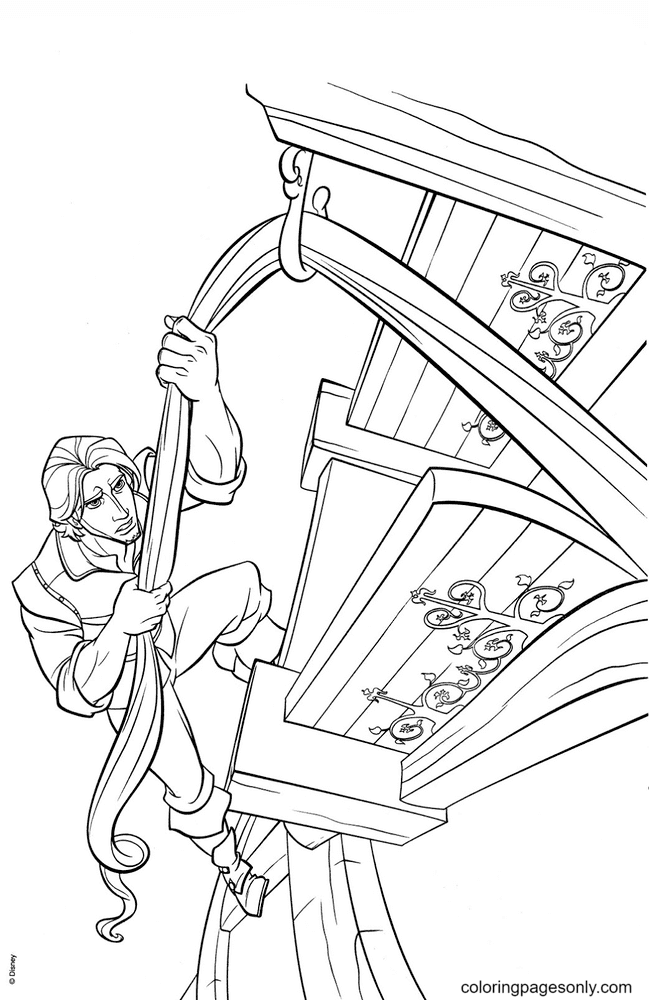 Flynn Rider Climbs Rapunzel's Tower Coloring Page
