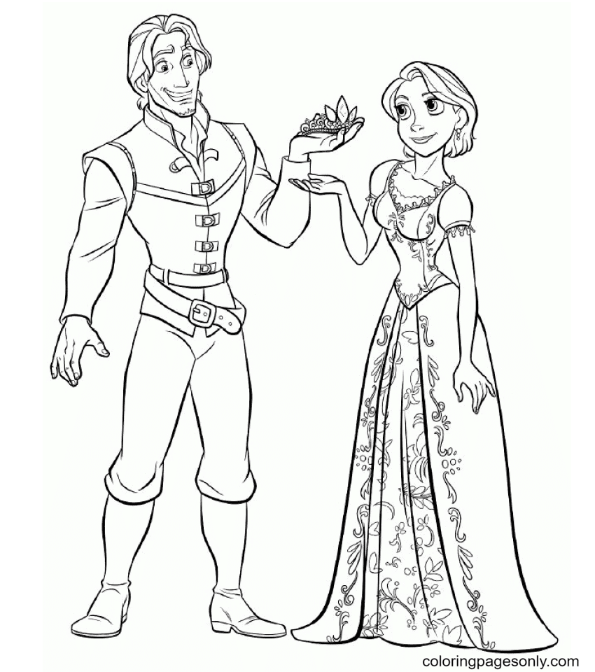 Flynn with Rapunzel Short hair Coloring Page