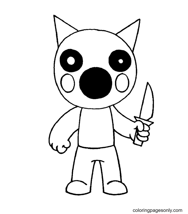 Foxy Roblox Piggy Coloring Page