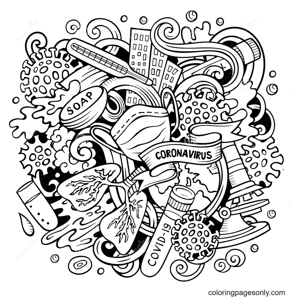 Free Corona virus Coloring Pages
