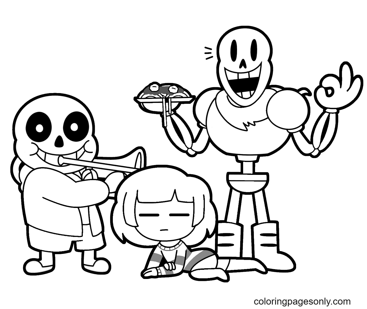 Free Printable Papyrus Undertale Coloring Page