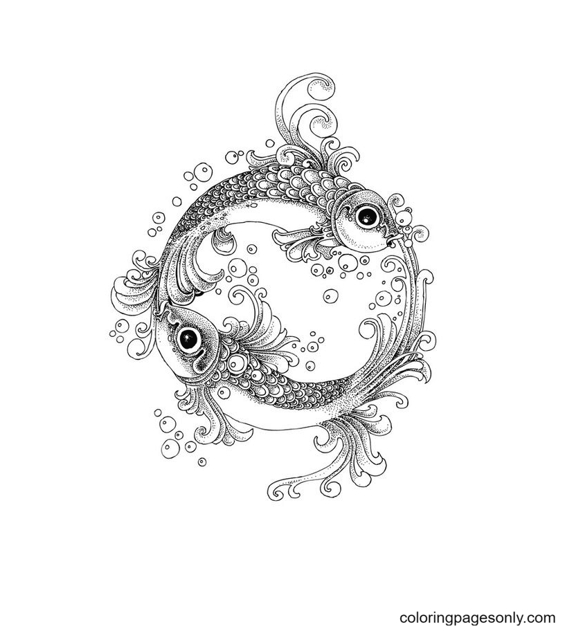 Free Printable Pisces Coloring Page