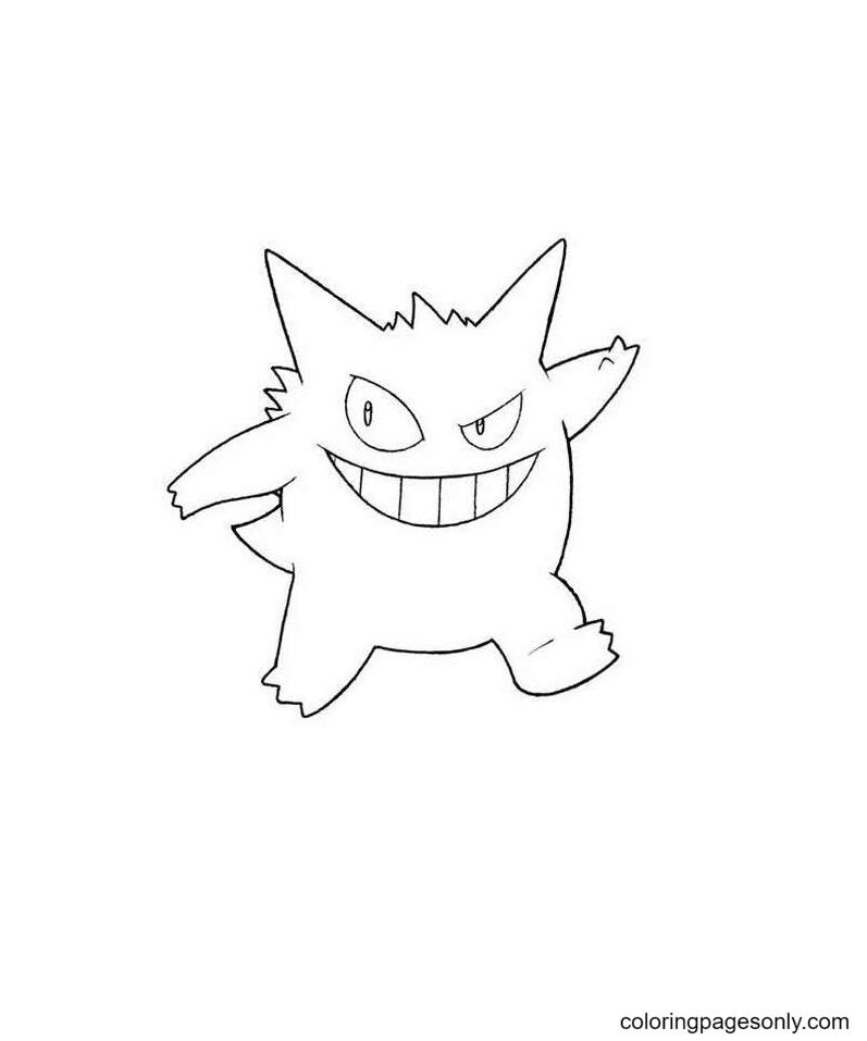 Free Printable Pokemon Gengar Coloring Page