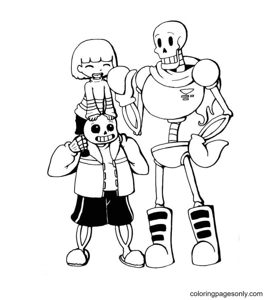 Frisk, Papyrus and Sans Coloring Page