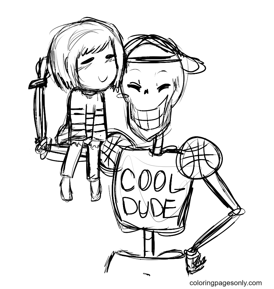 Frisk and Papyrus Coloring Page