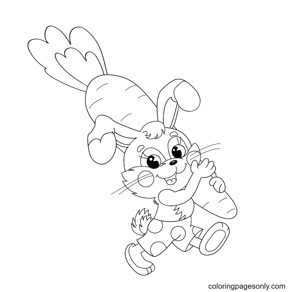 Funny Bunny Carrying Big Carrot Coloring Page