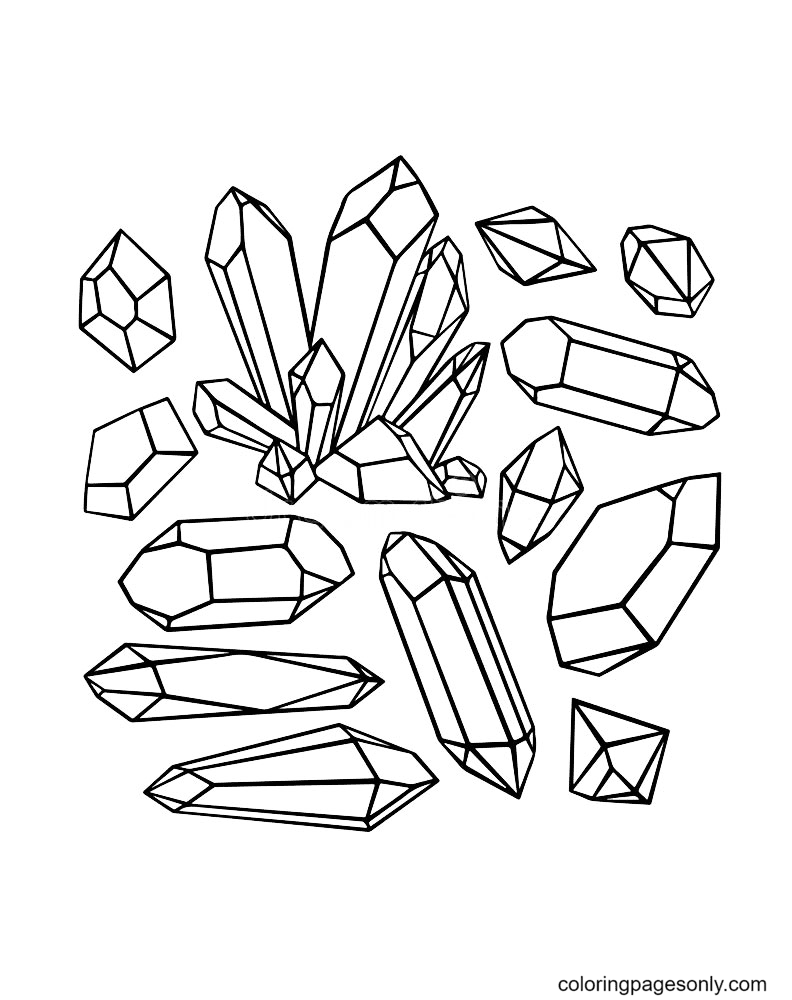 Gems Crystals Printable Coloring Page