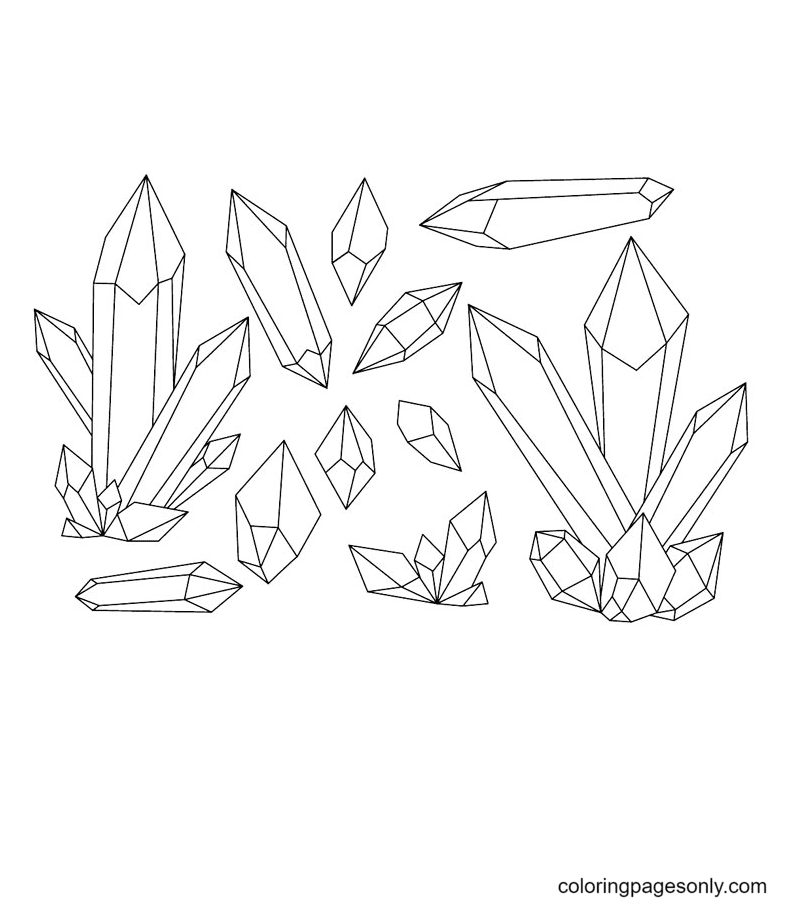 Gems Crystals Coloring Page