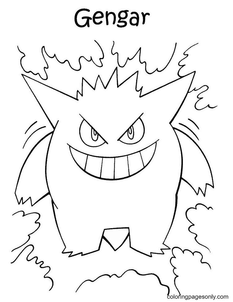 Gengar Pokemon Characters Printable Coloring Page