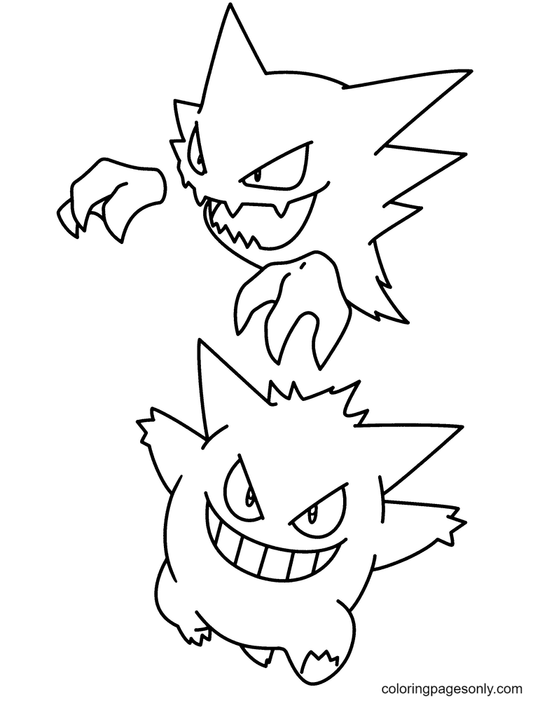 Gengar and Haunter Coloring Page