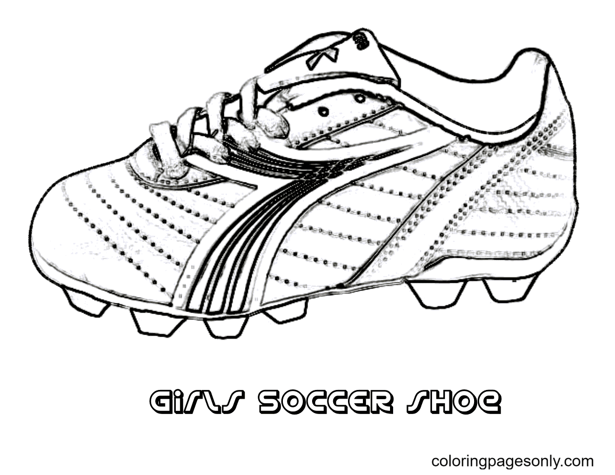 Girl Soccer Shoes Coloring Page