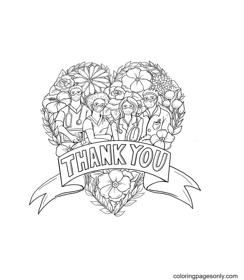 Give thanks to healthcare workers Coloring Page